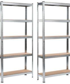 vidaXL opbevaringsreoler 2 stk. 90 x 30 x 180 cm cm stål og MDF sølv