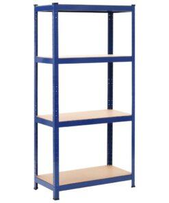 vidaXL opbevaringsreol 80 x 40 x 160 cm stål og MDF blå