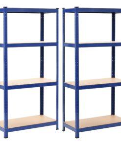 vidaXL opbevaringsreoler 2 stk. 80 x 40 x 160 cm stål MDF blå