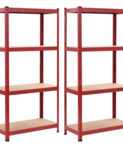 vidaXL opbevaringsreoler 2 stk. 80 x 40 x 160 cm stål MDF rød