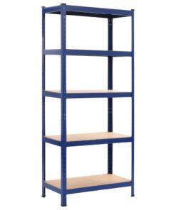 vidaXL opbevaringsreol 80 x 40 x 180 cm stål og MDF blå