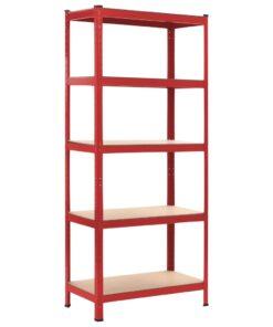 vidaXL opbevaringsreol 80 x 40 x 180 cm stål og MDF rød