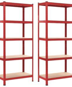 vidaXL opbevaringsreoler 2 stk. 80 x 40 x 180 cm stål MDF rød