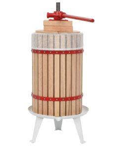 vidaXL frugt- og vinpresser med stofpose 24 l egetræ