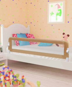 vidaXL sengegelænder til barneseng 150 x 42 cm polyester gråbrun
