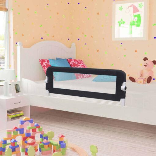 vidaXL sengegelænder til barneseng 102 x 42 cm polyester grå