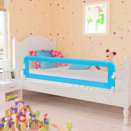 vidaXL sengegelænder til barneseng 120 x 42 cm polyester blå