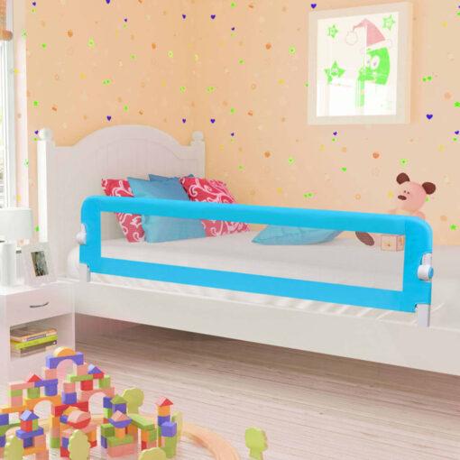 vidaXL sengegelænder til barneseng 180 x 42 cm polyester blå