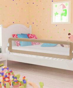 vidaXL sengegelænder til barneseng 180 x 42 cm polyester gråbrun