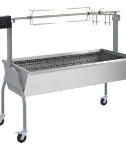 vidaXL elektrisk grill med rotisserie rustfrit stål