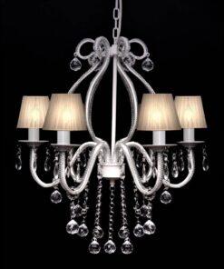 Chandelier Maria Theresa 6-arm m. Hvide lampeskærme
