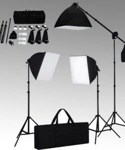 vidaXL belysningssæt 3 fotolamer med stativ og softbox