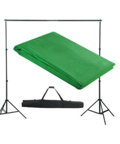vidaXL stativsystem til fotobaggrund 300 x 300 cm grøn