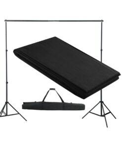 vidaXL stativsystem til fotobaggrund 300 x 300 cm sort
