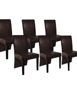 vidaXL spisebordsstole 6 stk. kunstlæder mørkebrun