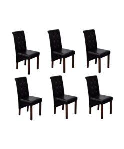 vidaXL spisebordsstole 6 stk. kunstlæder sort