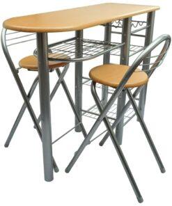 vidaXL køkken / morgenmadsbar / bord- og stolesæt træ