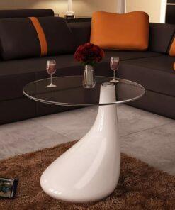 vidaXL sofabord med rund bordplade i glas højglans hvid