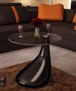 vidaXL sofabord med rund bordplade i glas højglans sort