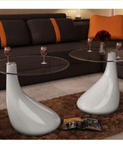 vidaXL sofabord 2 stk. med rund bordplade i glas højglans hvid