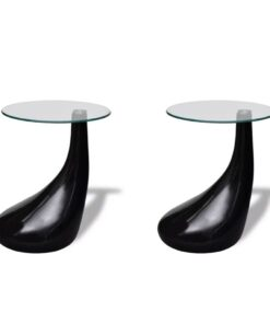 vidaXL sofabord 2 stk. med rund bordplade i glas højglans sort