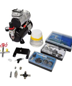vidaXL airbrush-kompressorsæt med 3 pistoler