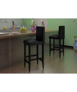 vidaXL barstole 4 stk. kunstlæder sort