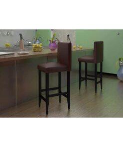 vidaXL barstole 4 stk. kunstlæder mørkebrun