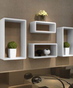 vidaXL kubisk væghyldesæt af 4 hvid