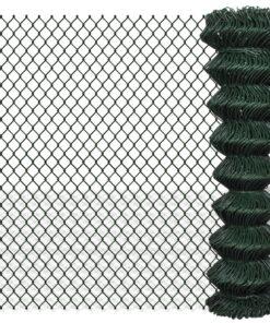 vidaXL fletvævshegn galvaniseret stål 1,5 x 15 m grøn