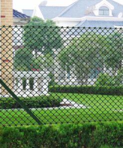 vidaXL fletvævshegn med stolper galvaniseret stål 0,8 x 15 m grøn