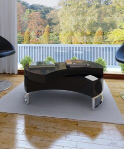 vidaXL sofabord indstilleligt højglans sort
