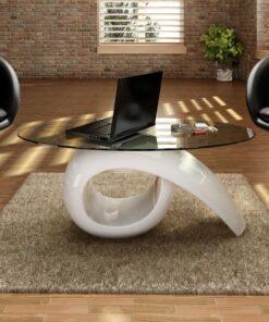 vidaXL sofabord med oval bordplade i glas højglans hvid