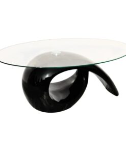 vidaXL sofabord med oval bordplade i glas højglans sort