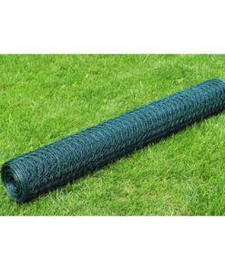 vidaXL hønsenet galvaniseret stål med PVC-belægning 25 x 0,75 m grøn