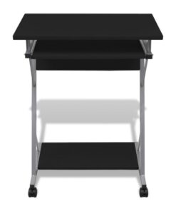 vidaXL kompakt computerbord med udtræksplade til tastetur sort