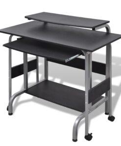vidaXL 2 stk. computerbord med udtræksplade til tastetur sort