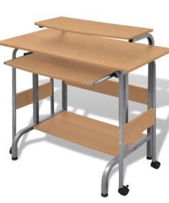 Todelt skrivebord og computerbord brun