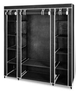 vidaXL stofklædeskab med rum og stænger 45 x 150 x 176 cm sort