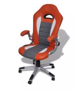 Kontorstol Kunstigt Læder Moderne Design Orange