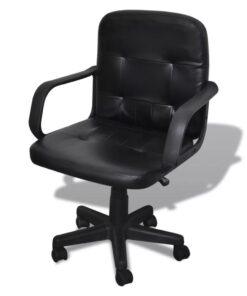 Kontorstol 59x51x81-89 cm Ægte læder, sort