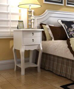 vidaXL sengebord med 2 skuffer hvid