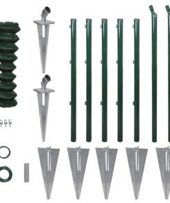 vidaXL fletvævshegn med stolpespyd galvaniseret stål 0,8 x 15 m