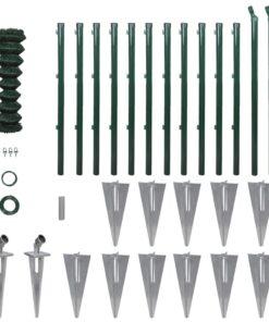 vidaXL fletvævshegn med stolpespyd galvaniseret stål 0,8 x 25 m