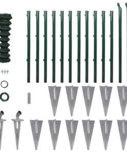 vidaXL fletvævshegn med stolpespyd galvaniseret stål 1,25 x 25 m