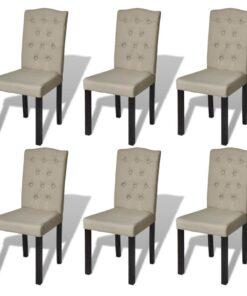 vidaXL spisebordsstole 6 stk. stof beige