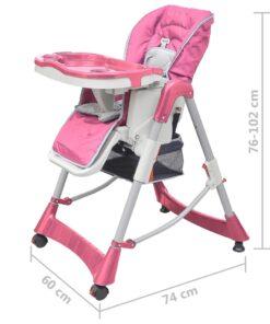 vidaXL babyhøjstol Deluxe lyserød højdejusterbar
