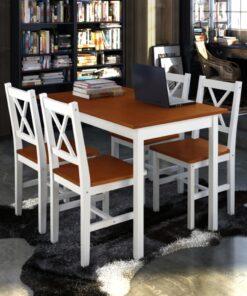 vidaXL spisebordssæt i 5 dele brun og hvid