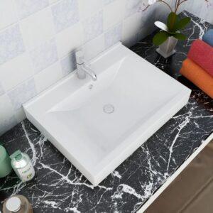 Keramisk firkantet håndvask m. overløb og hanehul 60×46 cm