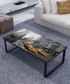vidaXL sofabord med glasbordplade rektangulært